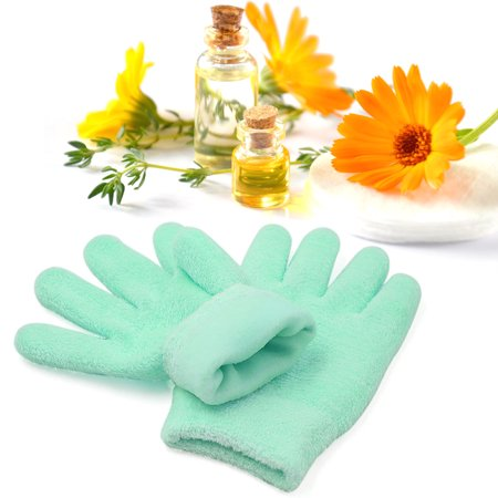 l Pair Green Comfy Recovery Moisturising Cracked Hand Care Spa Silicone Gel (Nails Gloves)