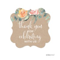 Peach Rustic Floral Garden Party, Fancy Frame Gift Tags, Thank You for Celebrating With Us, 24-Pack