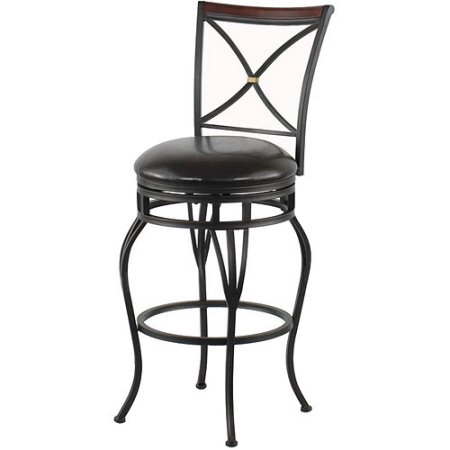 "Traditional X-Back 30"" Barstool with Dark Brown Vinyl Swivel Seat"