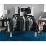 Mainstays Modern Plaid Black Bed in a Bag Bedding Set, Twin/Twin XL
