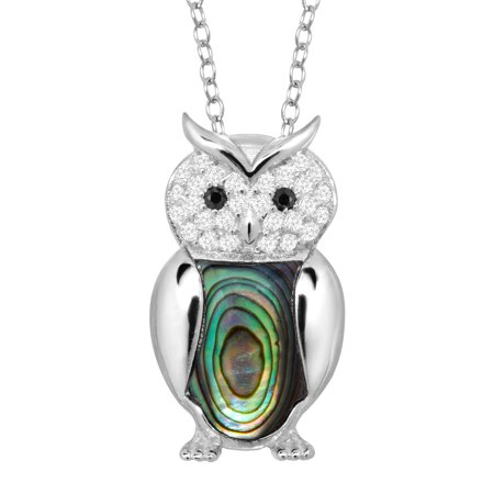 Abalone Inlay Owl Pendant Necklace With Cubic Zirconia In Sterling Silver