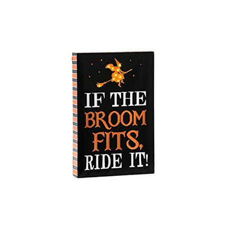 Halloween Canvas Sign Witch Riding Broom
