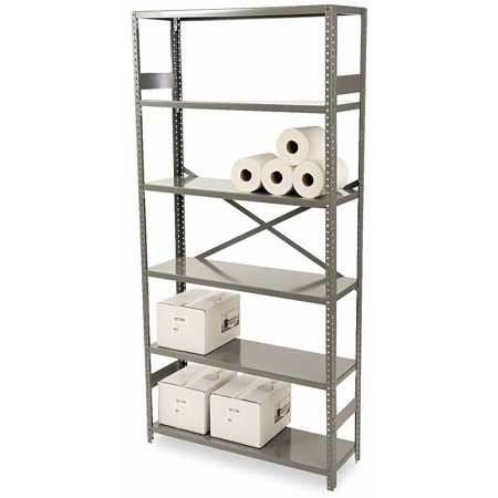 - Tennsco 6-Shelf Commercial Steel Shelving, Medium Gray