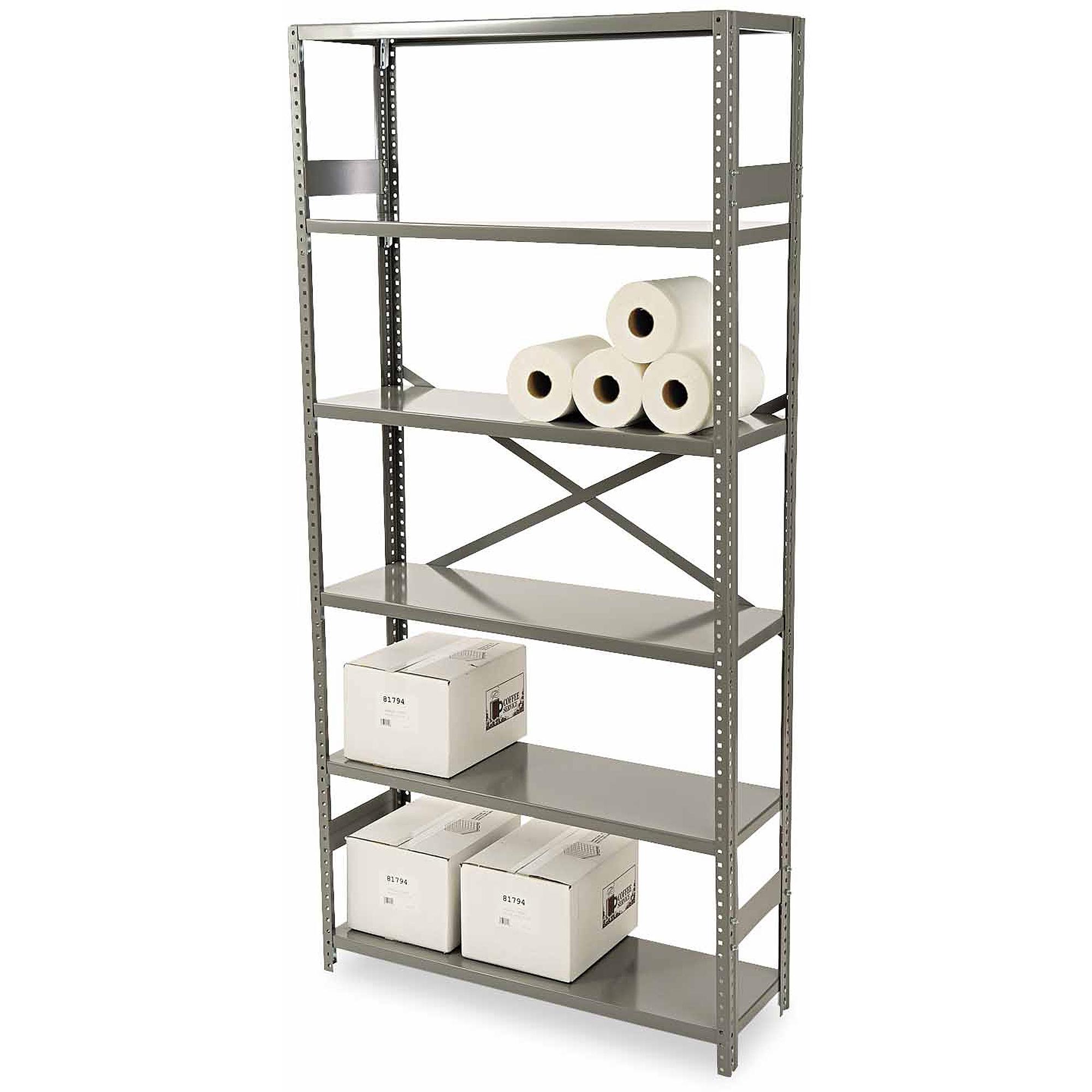 Tennsco 6-Shelf Commercial Steel Shelving, Medium Gray
