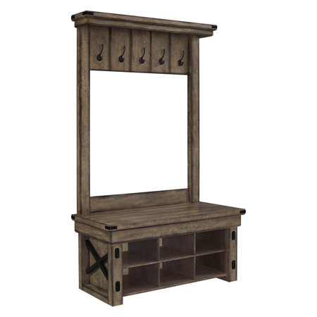 Ameriwood Home Altra Wildwood Entryway Hall Tree with Storage Bench