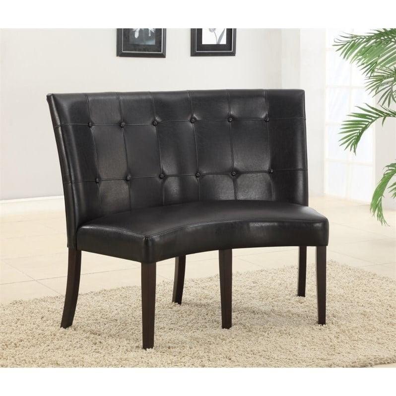 Modus Bossa Black Leatherette Banquette in Bold Dark Chocolate Finish by Modus Furniture International