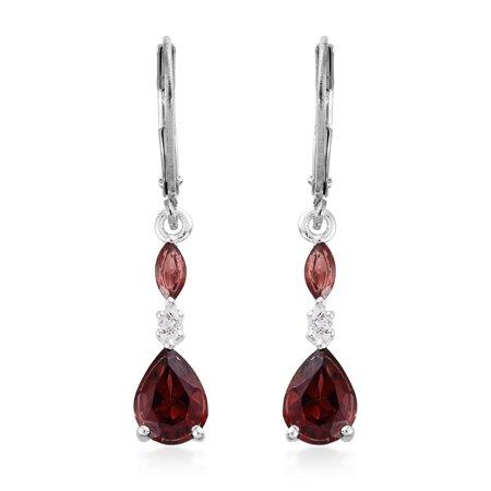 Multi Stone Dangle - 925 Sterling Silver 2.1 cttw Pear Garnet, Multi Gemstone Fashion Dangle Earrings For Women