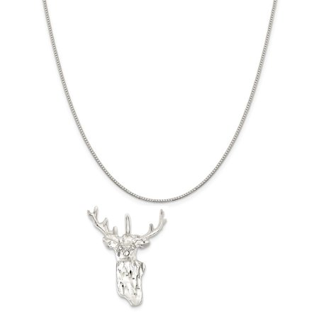 Sterling Silver Deer Head Charm on a Sterling Silver Box Chain Necklace, 20