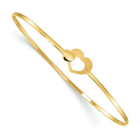 14K Yellow Gold Plated Brushed & Polished Hearts Slip On Bangle Bracelet