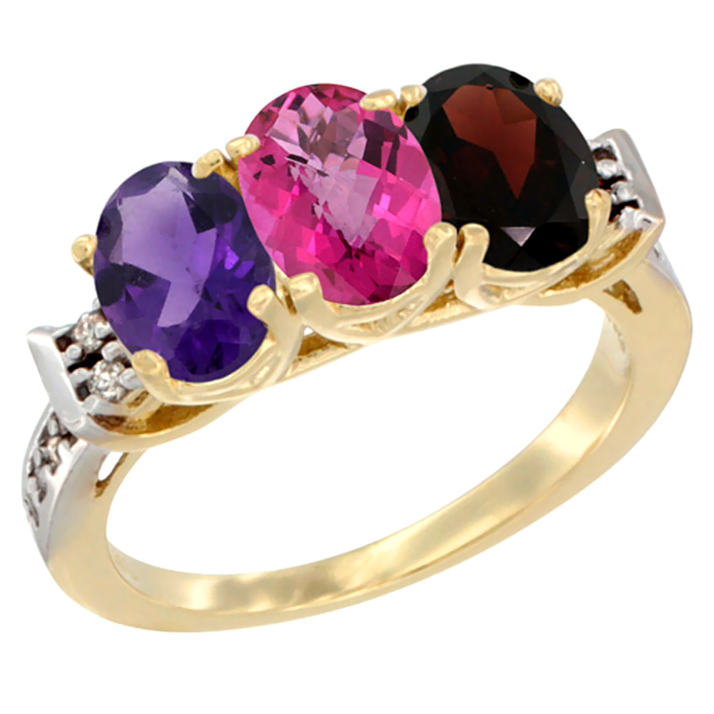 10K Yellow Gold Natural Amethyst, Pink Topaz & Garnet Ring 3-Stone Oval 7x5 mm Diamond Accent, sizes 5 10 by WorldJewels