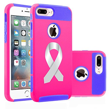 For Apple iPhone (7 Plus) Shockproof Impact Hard Soft Case Cover Diabetes Brain Cancer Parkinson's Disease Lung Cancer Color Awareness Ribbon (Hot Pink-Blue) - Lung Cancer Awareness Color