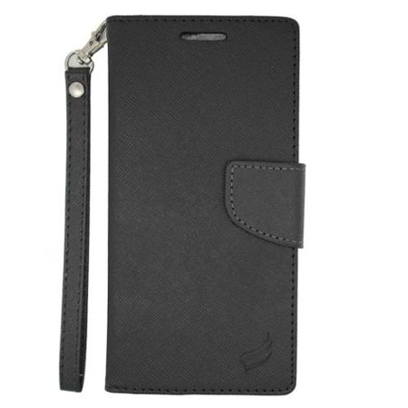 Insten Flip Wallet Leather Fabric Case with Card Slot & Lanyard For HTC Desire Eye - Black ()