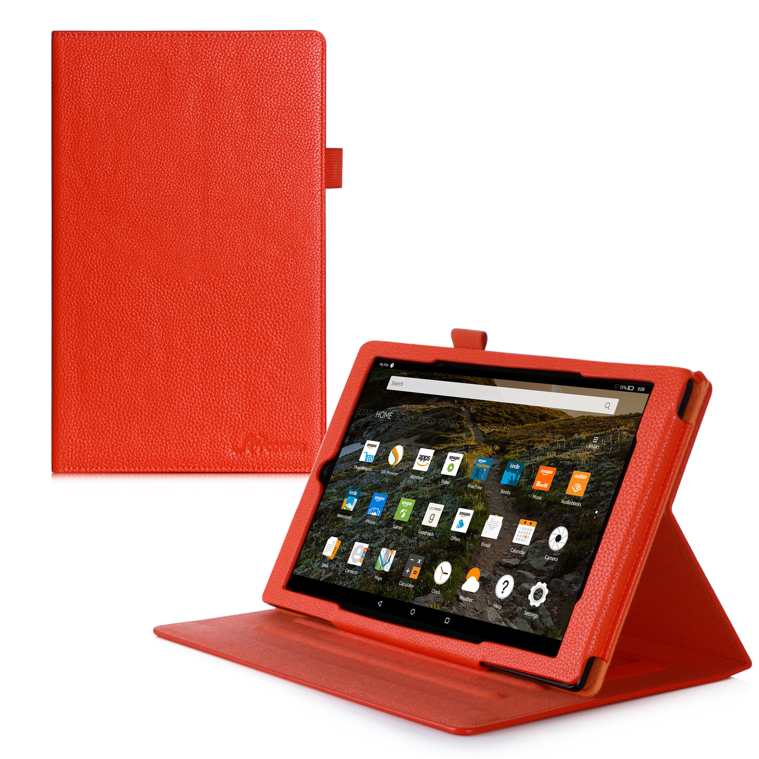 rooCASE Amazon Fire HD 10 (2015 Model ONLY) Dual View Leather Case Cover Auto Wake / Sleep with Stand