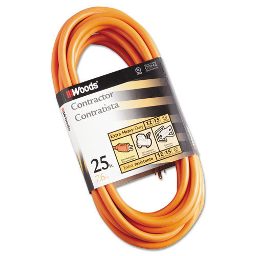 CCI Outdoor Round Vinyl Extension Cord, 12/3 AWG, 25' orange