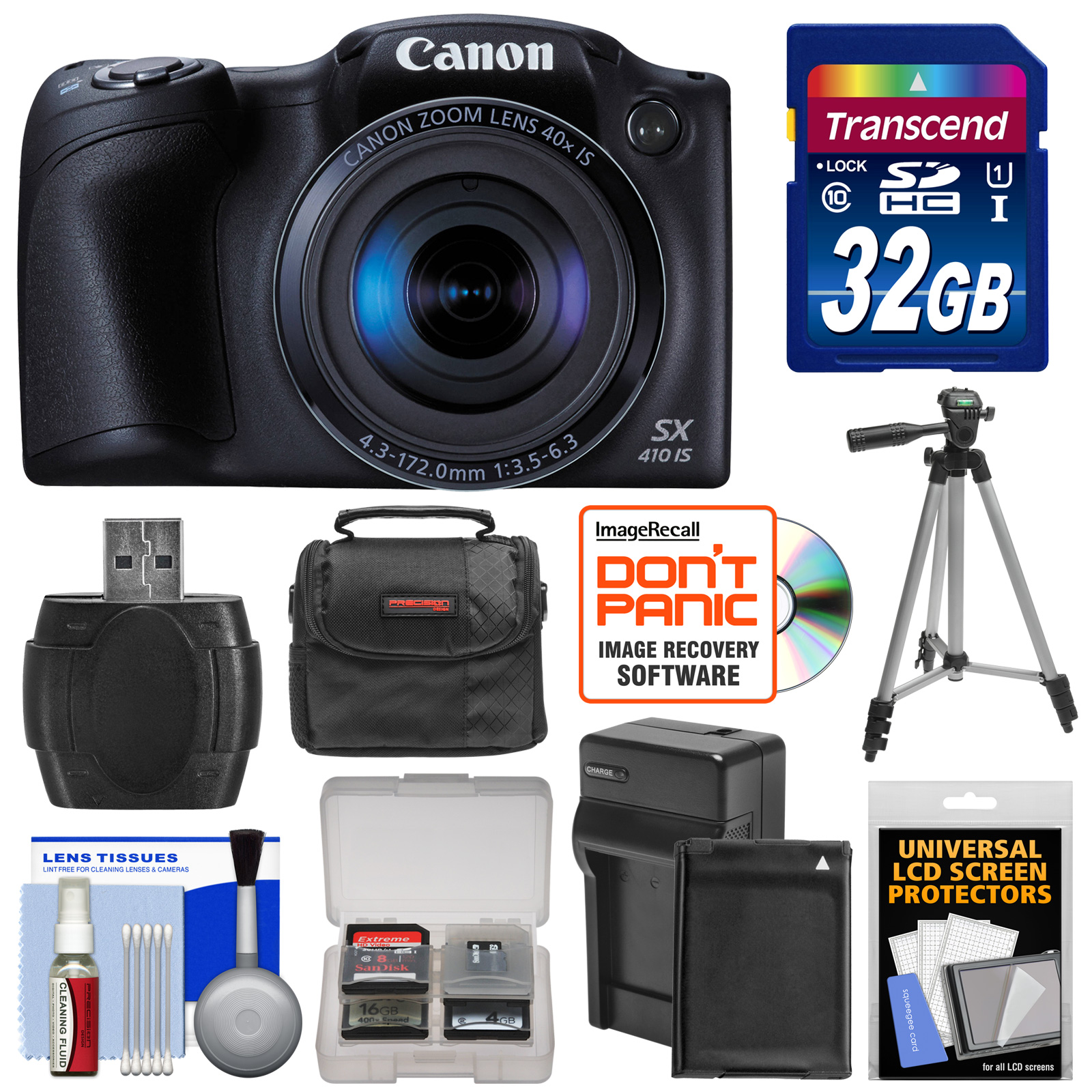 Canon PowerShot SX410 IS Digital Camera (Black) with 32GB Card + Battery & Charger + Case + Tripod + Kit