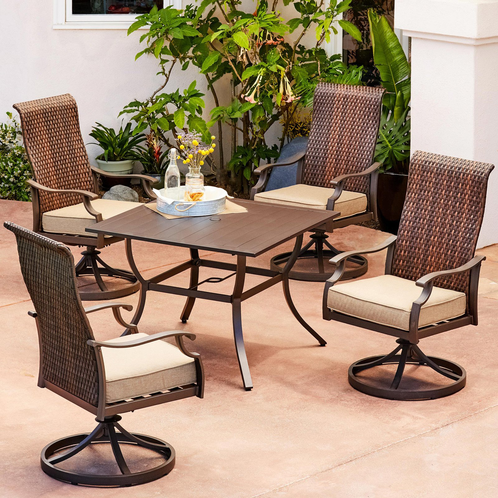Royal Garden Rhone Valley Aluminum 5 Piece Motion Patio Dining Set