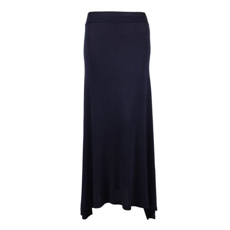 Ladies Solid Color Maxi Skirt with a High Waist, Long, Dark Blue