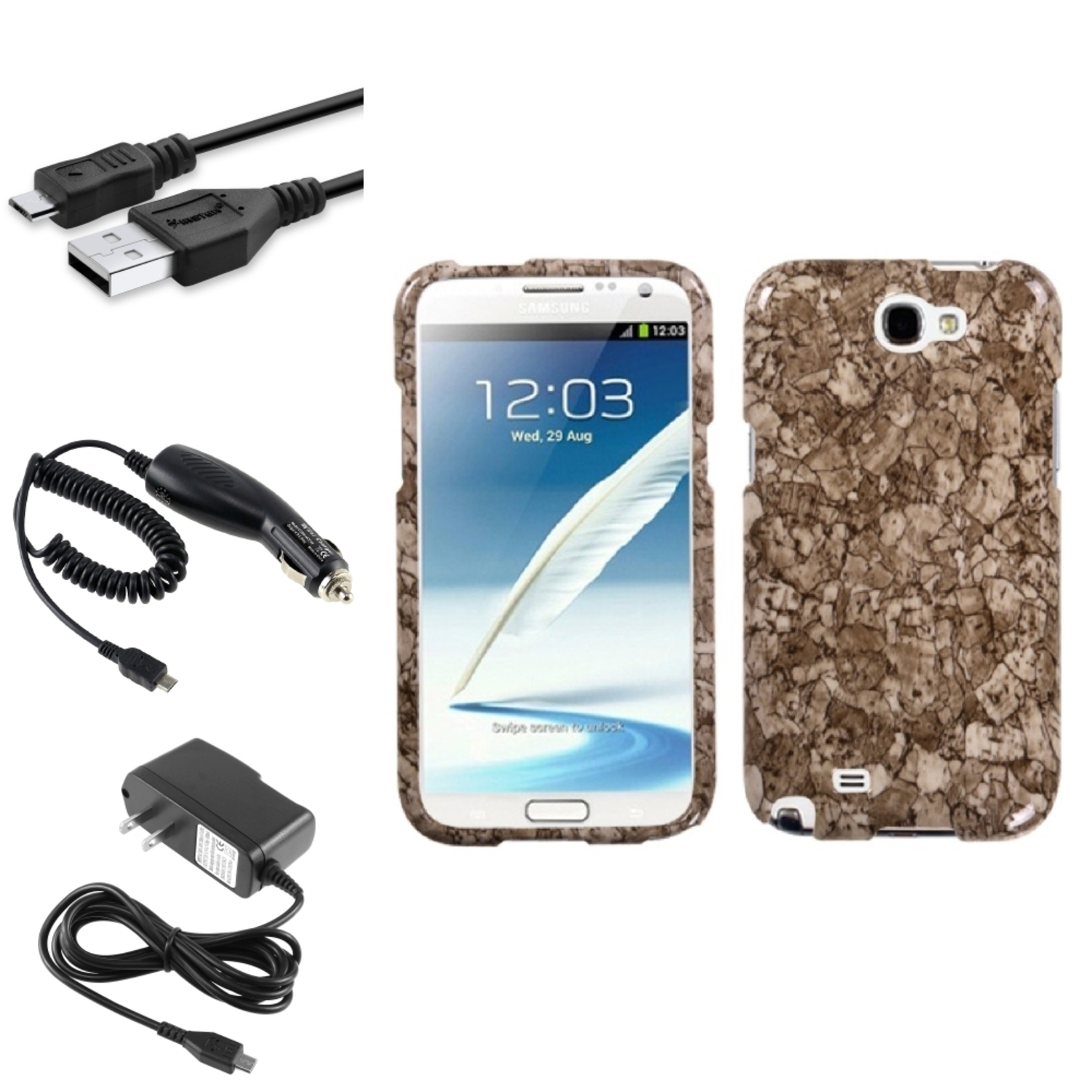 Insten Stone Vein Hard Case Car Wall Charger 3X USB Cable For Samsung Galaxy Note 2 II