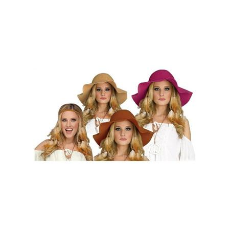 Womans Hippie Gal Headband and Hat Kit (Halloween Zone Tan)