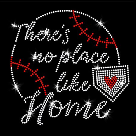Rhinestuds Iron Ons (There's No Place Like Home Baseball Iron On Rhinestone and Rhinestud Transfer)