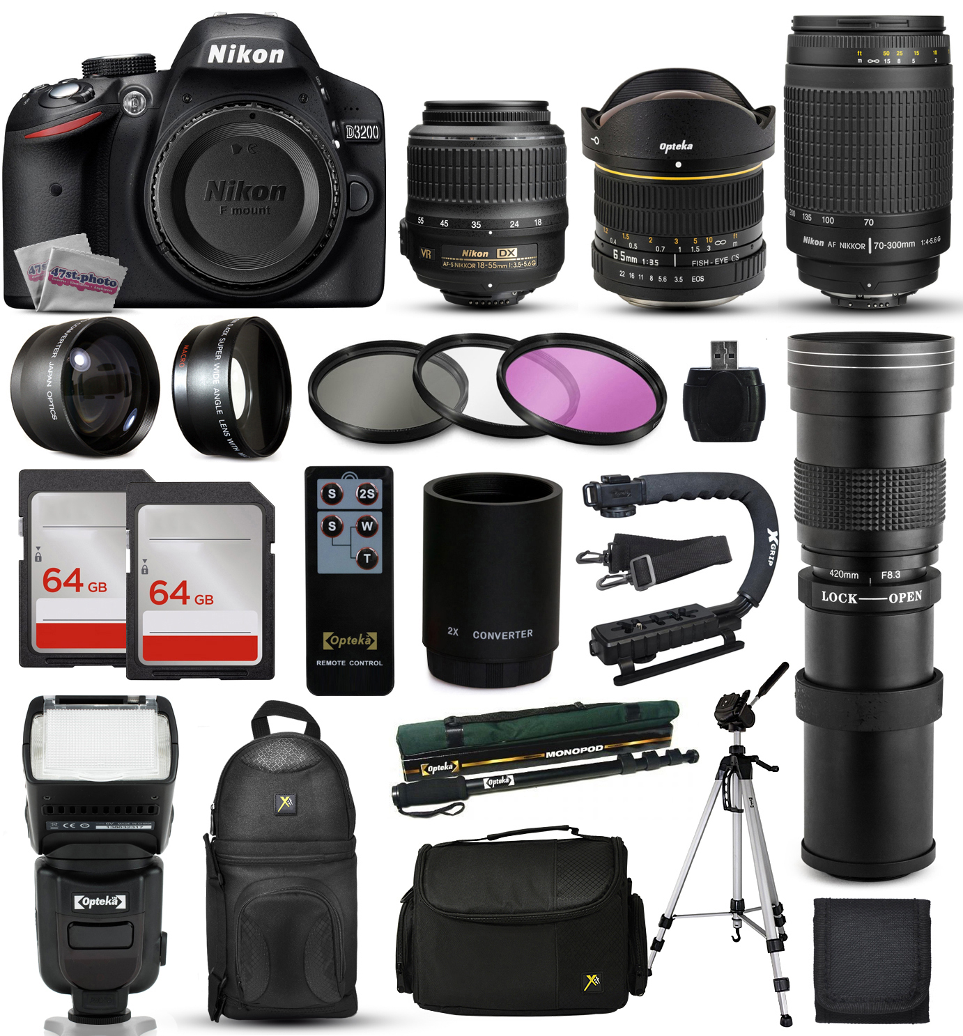 Nikon D3200 DSLR Digital Camera + 18-55mm VR + 6.5mm Fish...