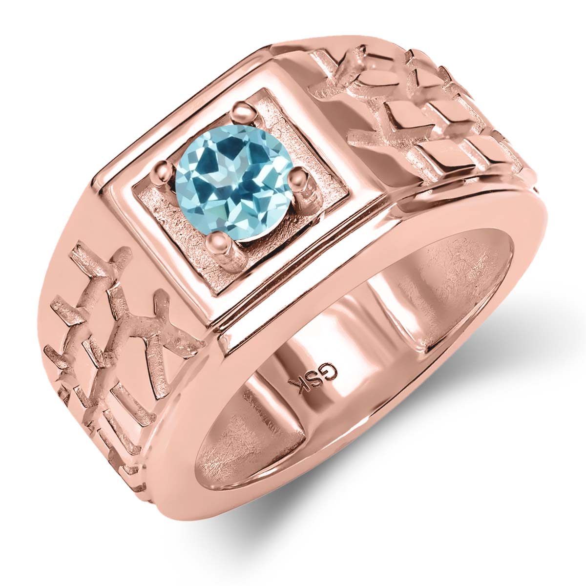 18K Rose Gold Ring Set with Round Ice Blue Topaz from Swarovski