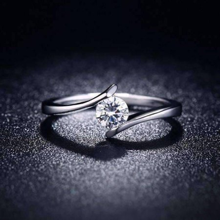 ON SALE - Only You Floating Tension Set .5 CT Simulated Diamond Ring 6 / Platinum 4mm Platinum Channel Diamond Ring