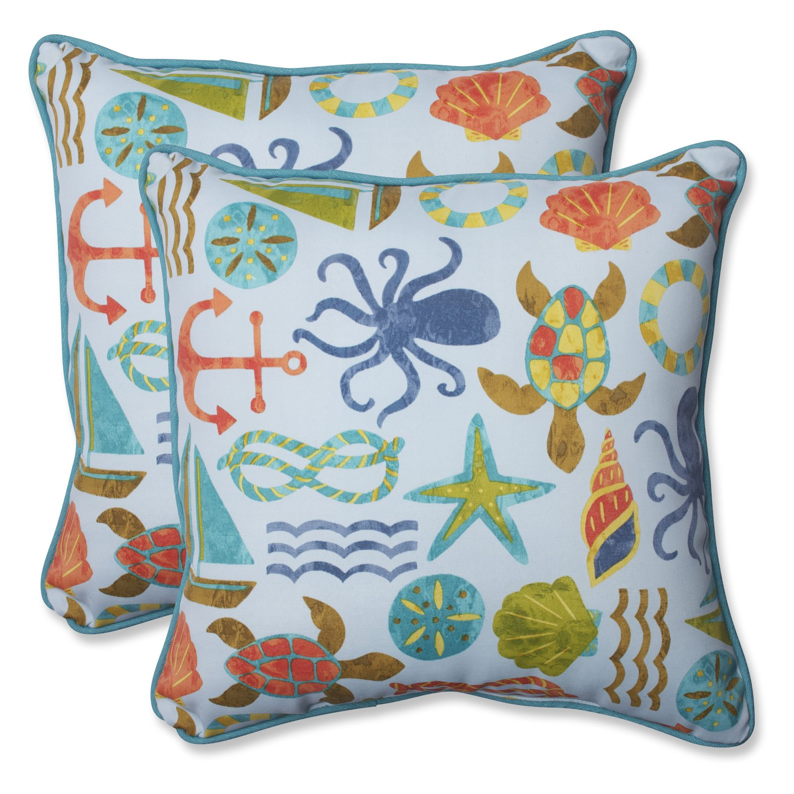 Pillow Perfect Outdoor/ Indoor Seapoint Blue Summer 18.5-inch Throw Pillow (Set of 2)