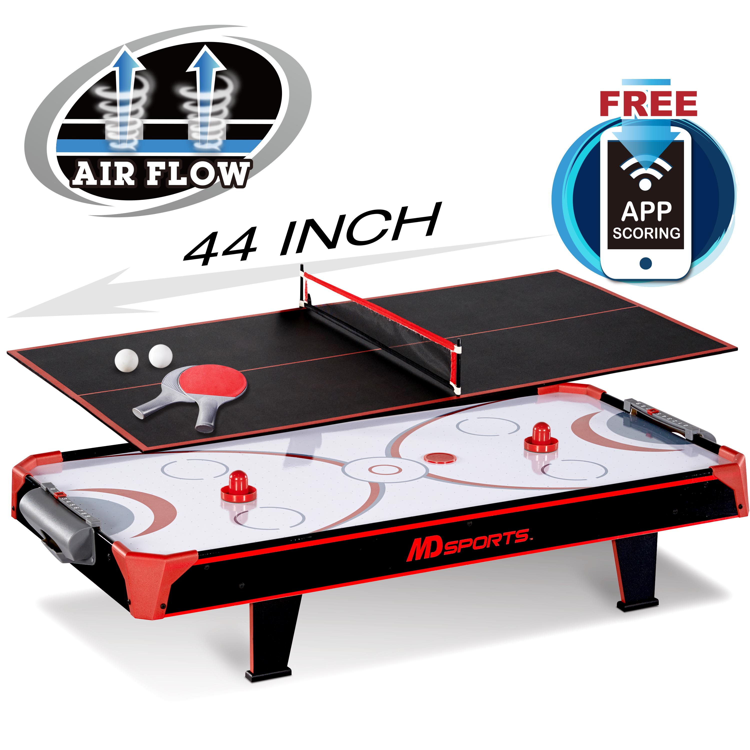 MD Sports 44 Inch Air Powered Hockey Table Top With Table Tennis Top With  APP Scorer