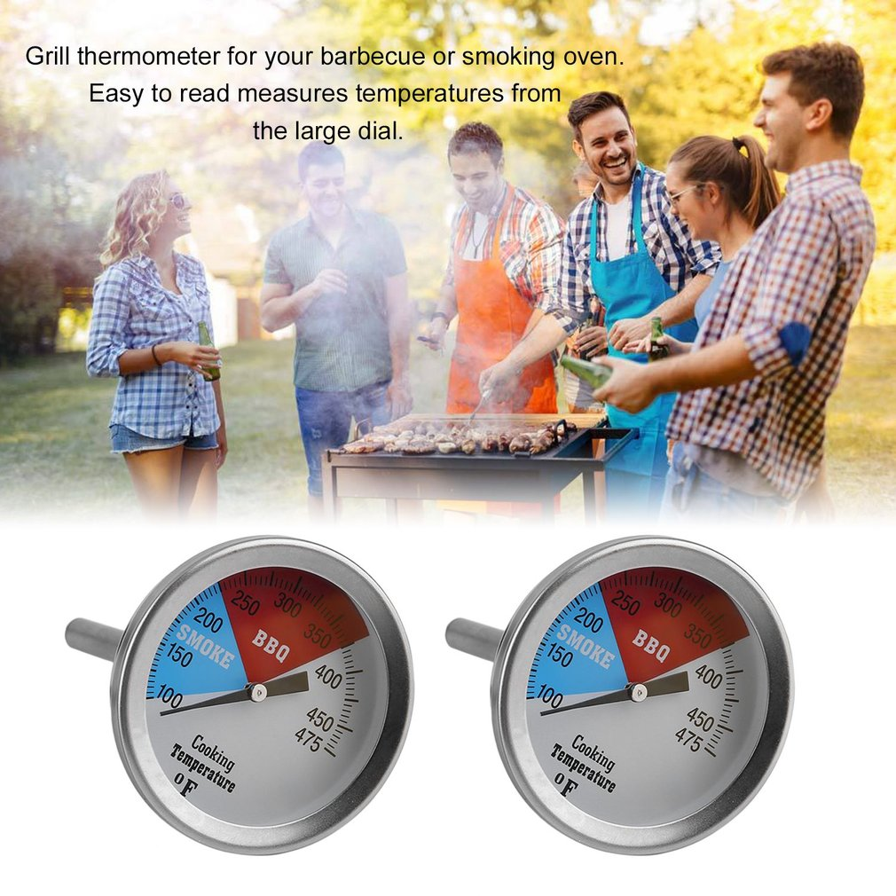 Stainless Steel Smoker Temperature Gauge 475F BBQ Smoker Thermometer Charcoal Grill Pit Thermometer Barbecue Accessories