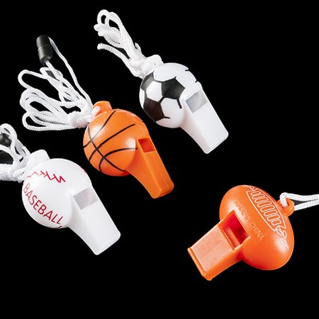 Sport Ball Whistle Necklaces - 12 per pack