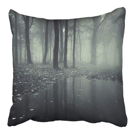 Green Lakes Ny Halloween (ARHOME Purple Dark Pond in Forest with Fog Green Scary Rain Water Lake Woods Halloween Pillowcase Cushion Cover 16x16)