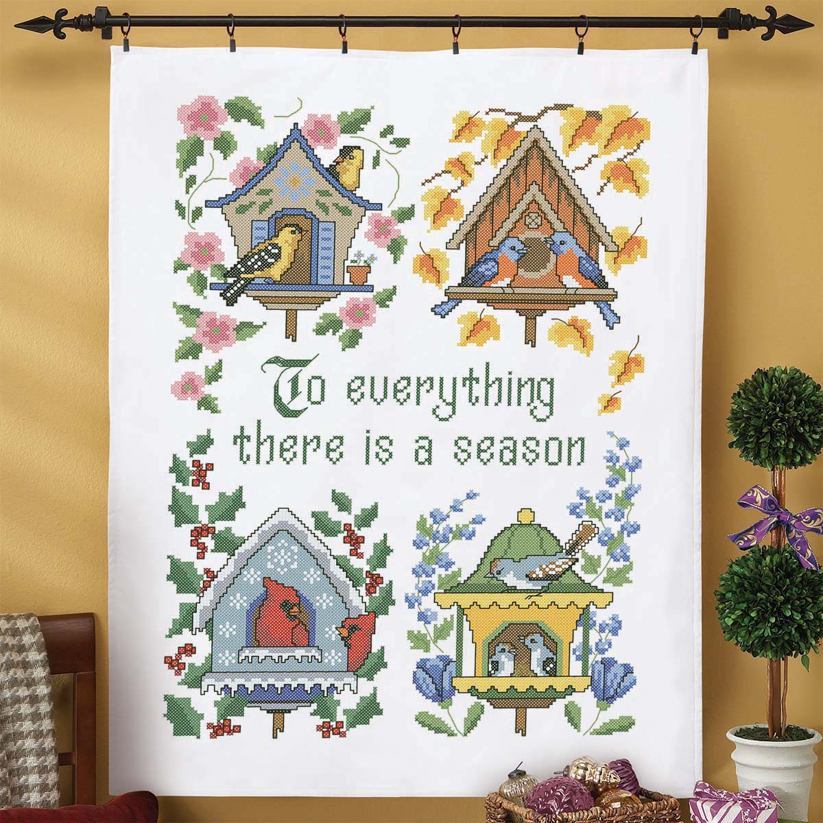 Herrschners® Everything a Season Lap Quilt Top Stamped Cross-Stitch