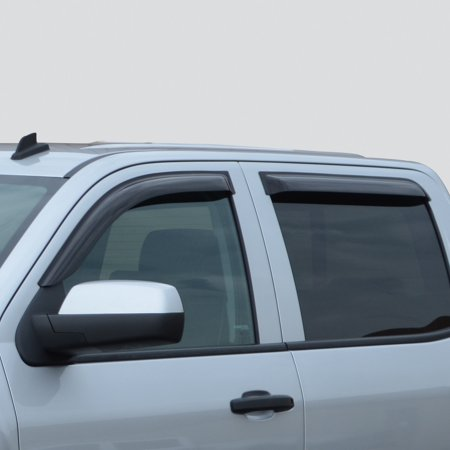 Gm Accessories Vent - GM 19328980 Side Window Weather Deflectors Chevrolet Silverado Crew Cab Smoke Black In Channel