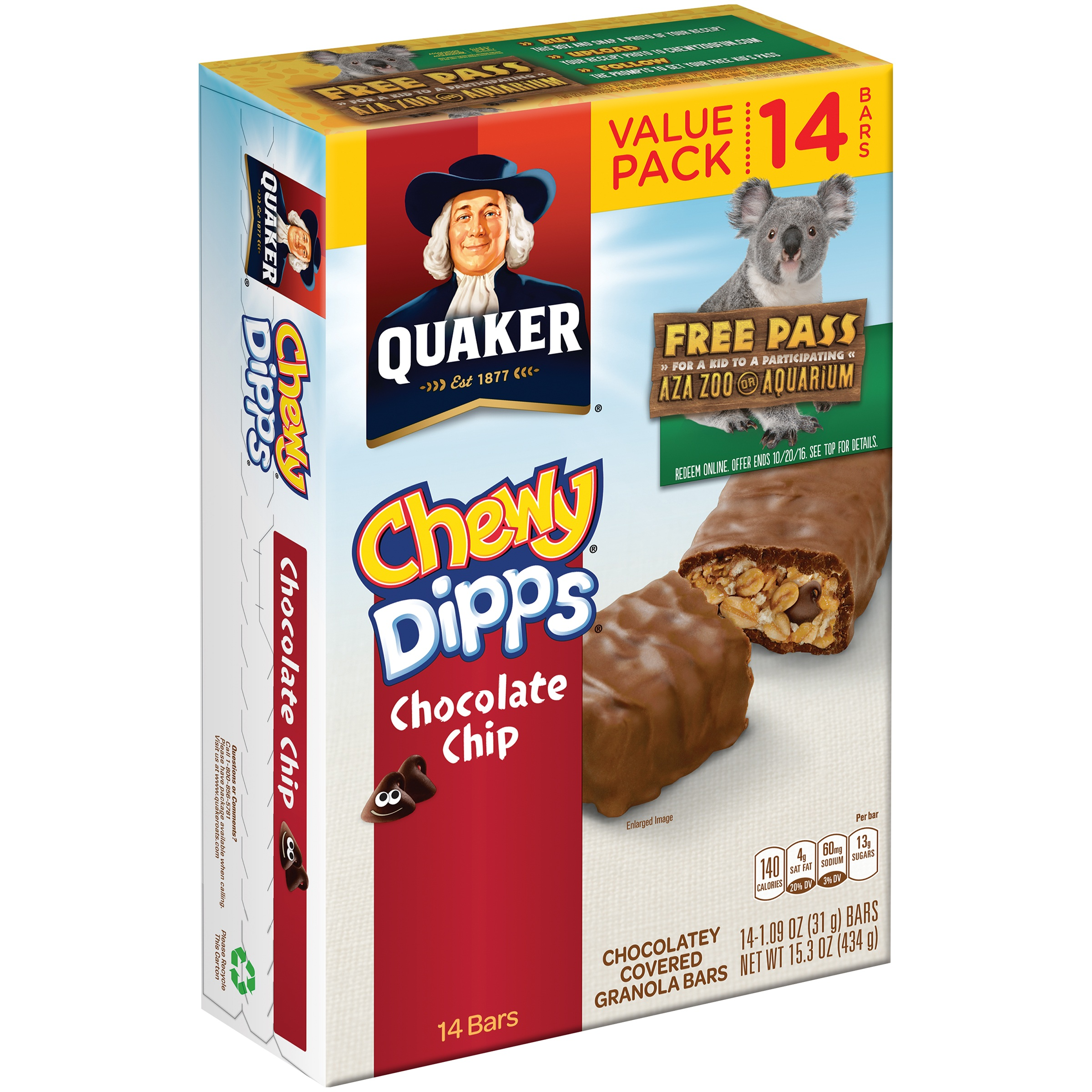 030000450529 UPC - Quaker: Chewy Dipps Chocolate Chip ... Quaker Chewy Granola Bars Barcode