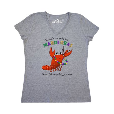 There's No Party Like Mardi Gras With Crawfish Women's V-Neck T-Shirt for $<!---->