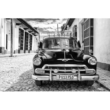 Cuba Fuerte Collection B&W - Black Classic Car Print Wall Art By Philippe