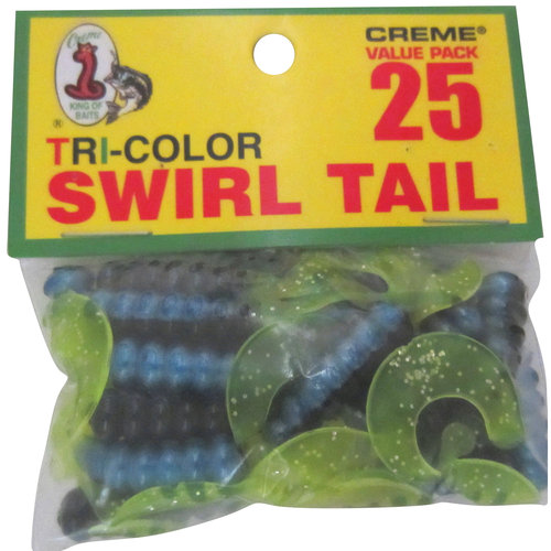 Creme Lure Tri-Color Swirltail Grub, Black/Blue/Chartreuse, 25-Pack