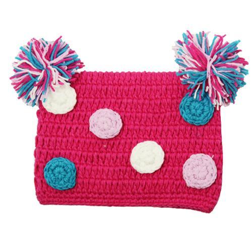 Little Girls Hot Pink Pom Pom Crochet Hat 0-4 Years