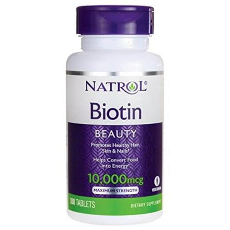 Skin Biotin Supplement (Biotin Max 10000 Mcg, 100 lb, Vitamin, supplement, Natrol, biotin, hair, skin, nails, health, maximum dose By)