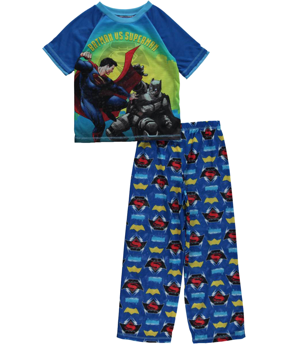 "Batman v Superman Big Boys' ""Flight Fight"" 2-Piece Pajamas (Sizes 8 - 20)"