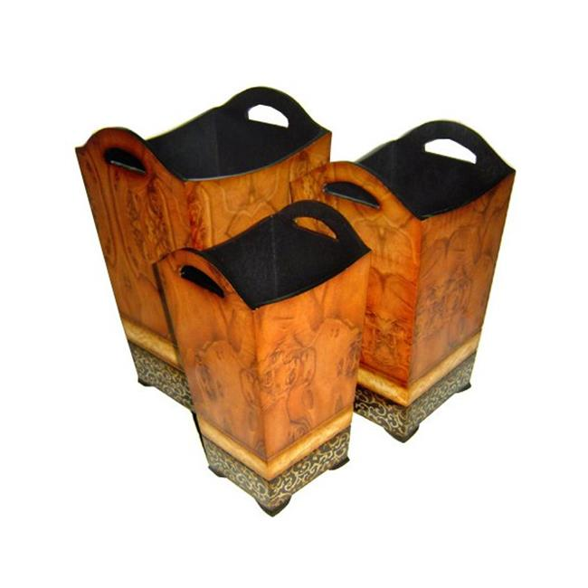 Cheung's FP-2453-3 Wooden Tapered Decorative Planter (Set of 3)