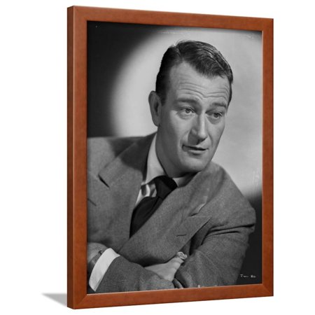 John Wayne wearing Suit and Crossing His Arms Framed Print Wall Art By Gaston Longet