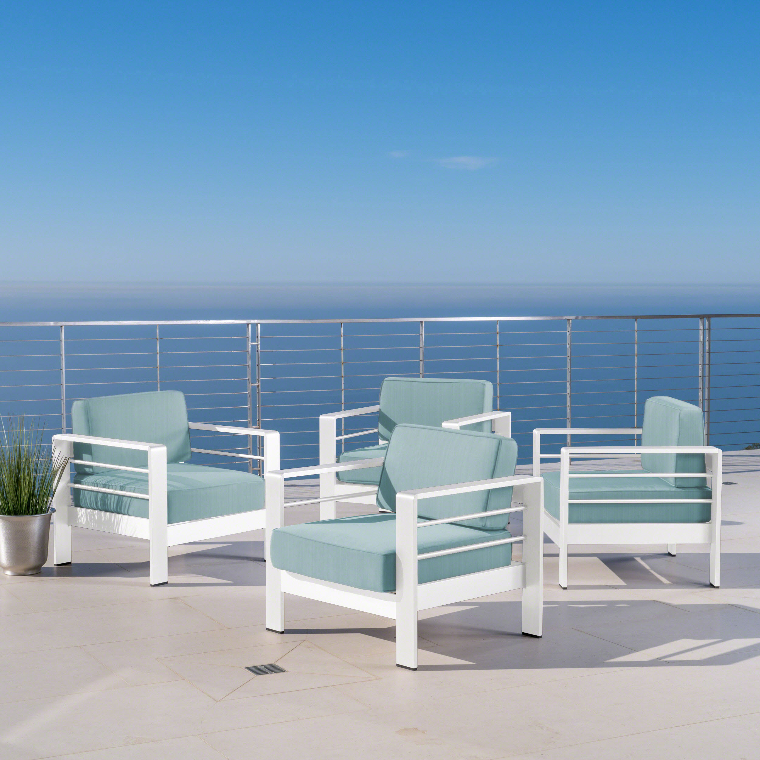 Rivera Outdoor Aluminum Club Chairs with Cushions, White & Teal.