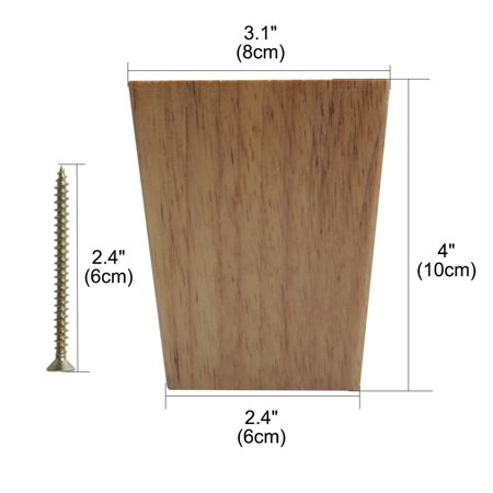 """4"""" Solid Wood Furniture Leg Square Tapered Couch Closet Feet Replacement 4pcs - image 4 de 7"""