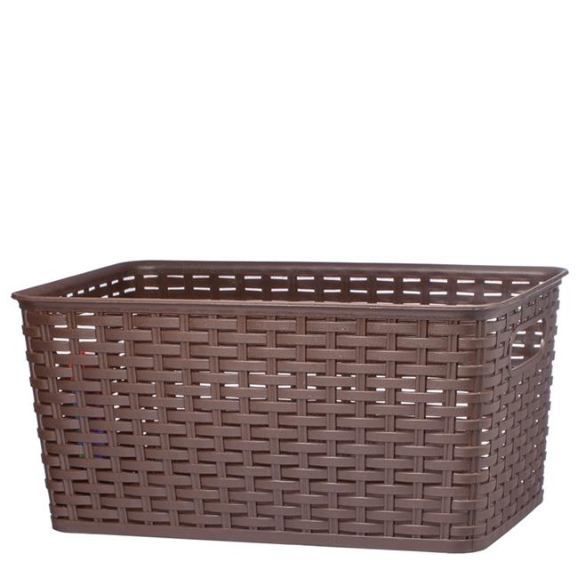 Nua Gifts 426 - B Big Rattan Storage Basket  15.88 x 10 x 7.5 in. - Brown