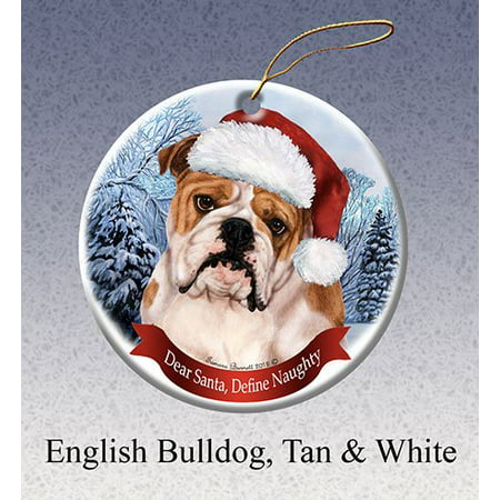 English Bulldog Dog Santa Hat Christmas Ornament Porcelain China U.s.a. Gift