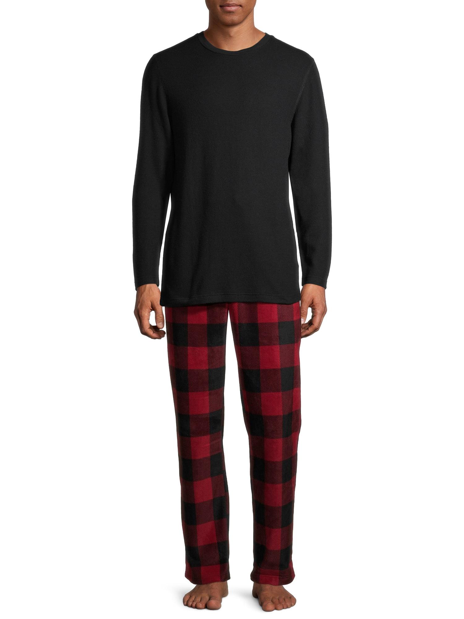 IZOD Mens Waffle Knit Long Sleeve Pajama Top