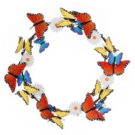 """Miles Kimball Metal Butterfly and Daisy Wreath by Fox River Creations™, 14"""" Diameter"""