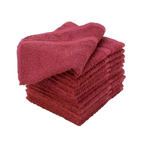 "Allure, 12"" x 12"" Pack of 12 100% Cotton Terrycloth Salon Towels, BURGUNDY, 401214"